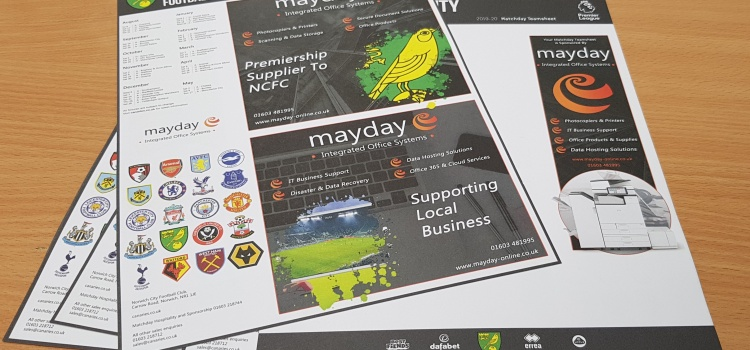 Mayday Design and Sponsor 2019/2020 NCFC Matchday Team Sheets